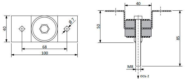 Конструкция крепления Vibrofix Uni для звукоизоляции